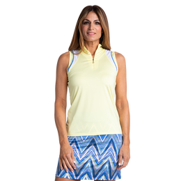 Riviera Collection: Bitsy Mesh Shoulder Sleeveless Polo