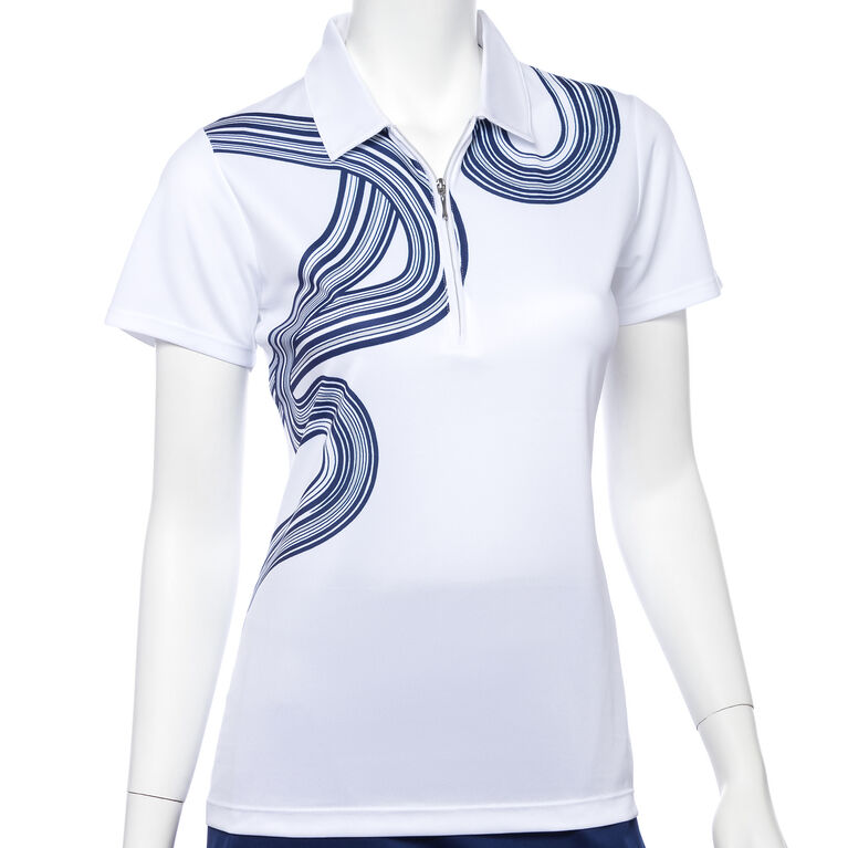 Silver Streak: Short Sleeve Ribbon Print Polo