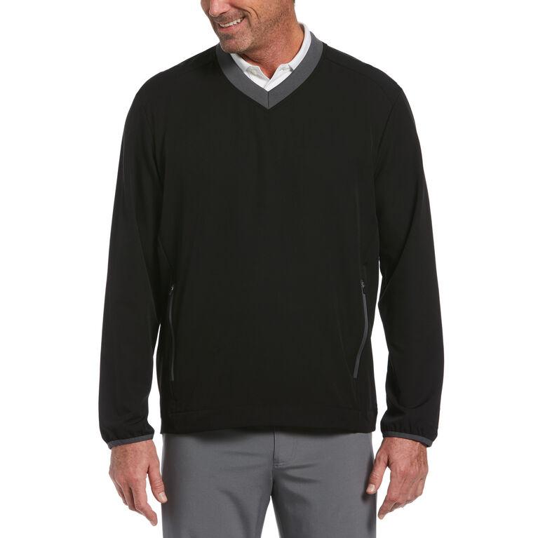 Dobby-Back Stretch V-Neck Golf Pullover
