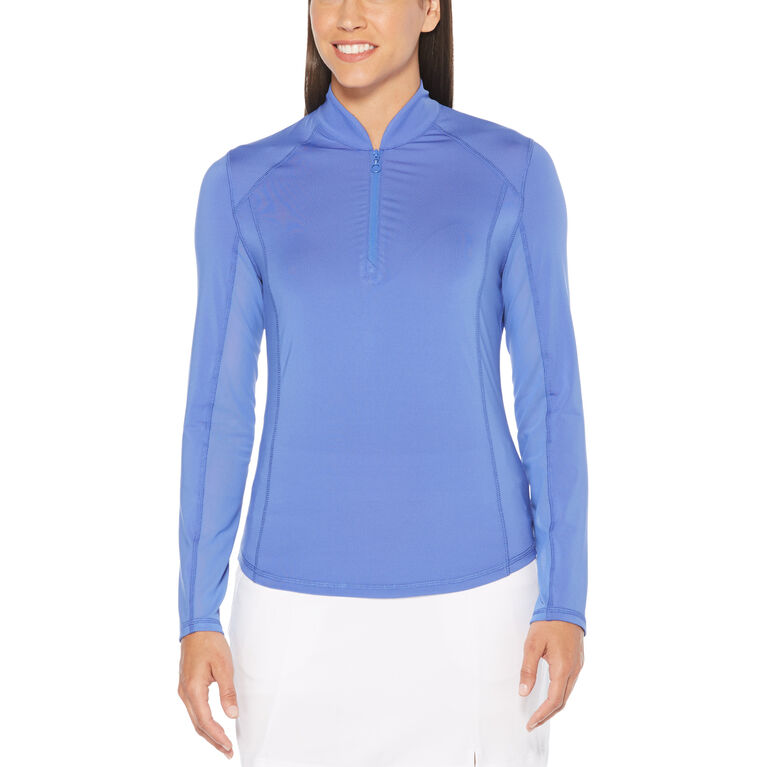 Lilac and Navy Group: Sun Protection Long Sleeve Golf Sweater with Under Sleeve Mesh Panel
