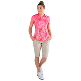 Alternate View 2 of Pink Lady Collection: Vera Short Sleeve Leaf Print Polo
