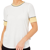 Alternate View 1 of Biltmore Collection: Piped Rib Trim Short Sleeve Top