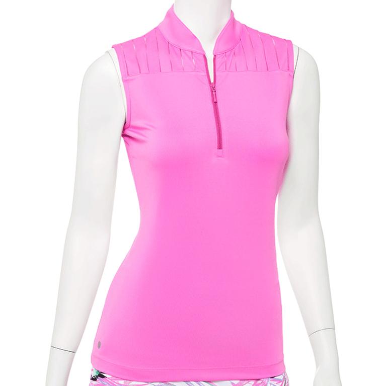 True Colors Collection: Sleeveless Zip Mandarin Collar Polo