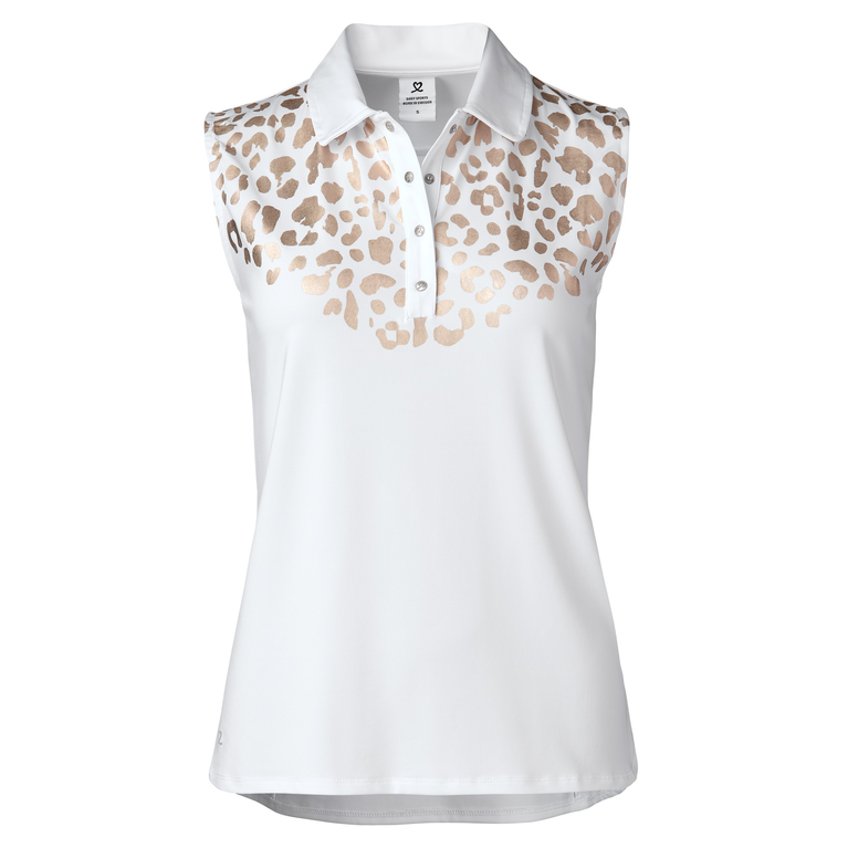 Natural Collection: Larissa Sleeveless Gold Leopard Front Polo
