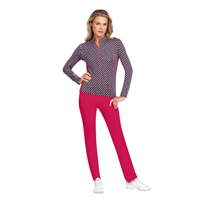 Delicate Blooms Collection: Kalue Long Sleeve Diagonal Stripe Quarter Zip Pull Over