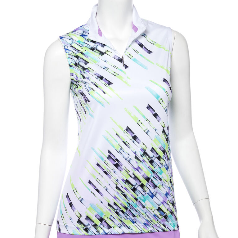 Club Med Group: Sleeveless Crosshatch Placed Print Convertible Zip Collar Polo