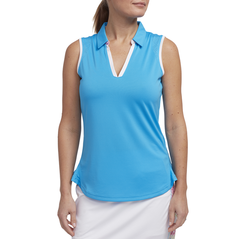 Cheeky Collection: Sleeveless Rounded Hem Polo Shirt