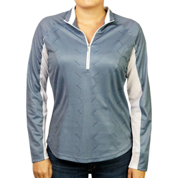 Blue Stripe Print Quarter Zip Pull Over