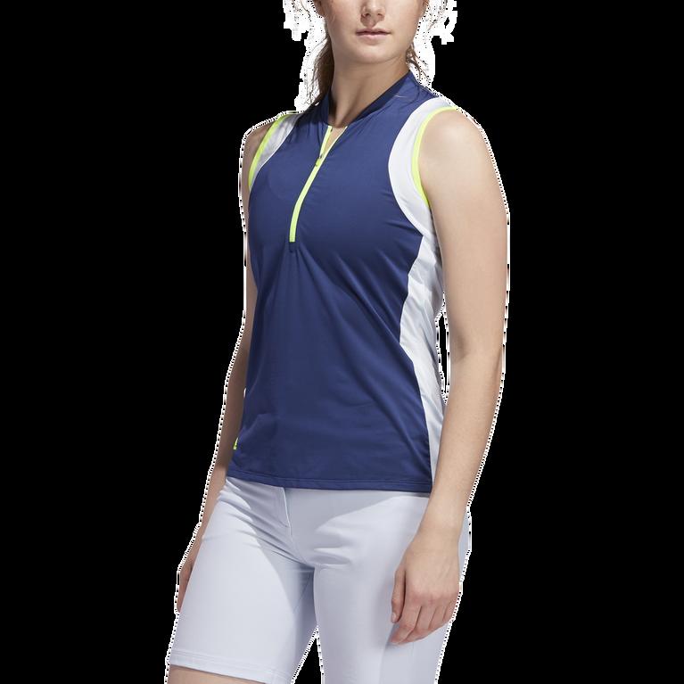 Color Block Sleeveless Polo Shirt