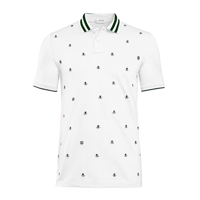 Skull & T's Embroidered Polo Front