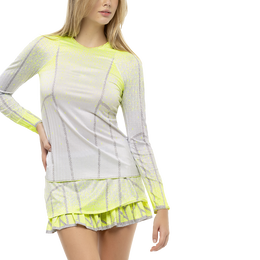 Pleat It Up Long Sleeve Ombre Tennis Top