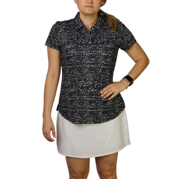 Grid Print Short Sleeve Polo Shirt