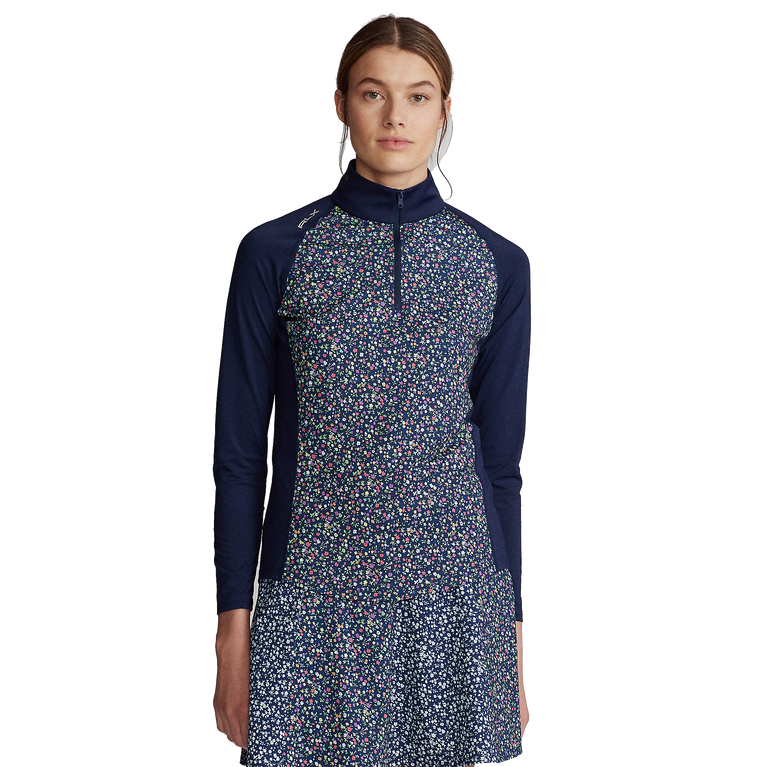 Floral Print Long Sleeve Airflow Quarter Zip Pull Over