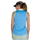 Alternate View 3 of Limonata Collection: Cutaway Rib Trimmed Sleeveless Polo Shirt