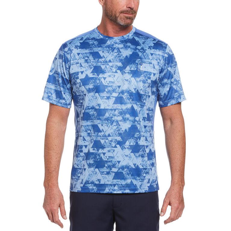 Camo Geo Print Short Sleeve Crew Neck Tee Shirt