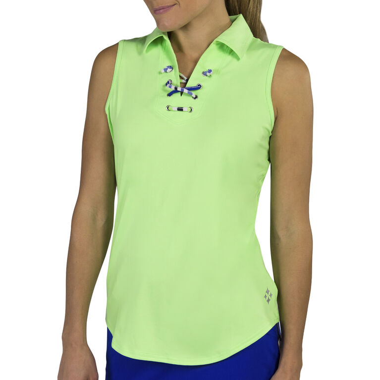Jofit Lace-Up Sleeveless Polo