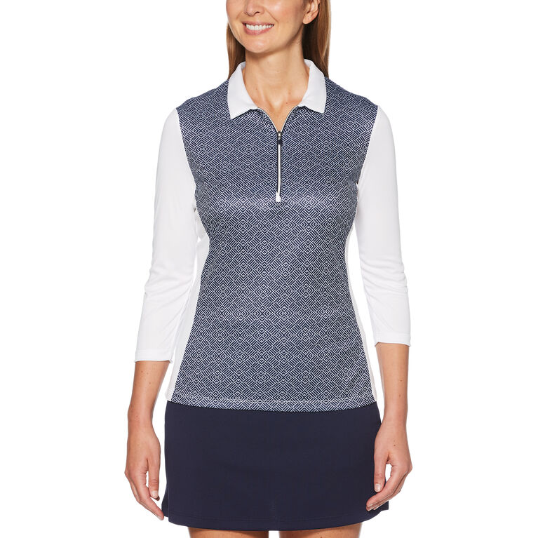 Women's Two Tone Tile Print 3/4 Sleeve Polo Golf Shirt