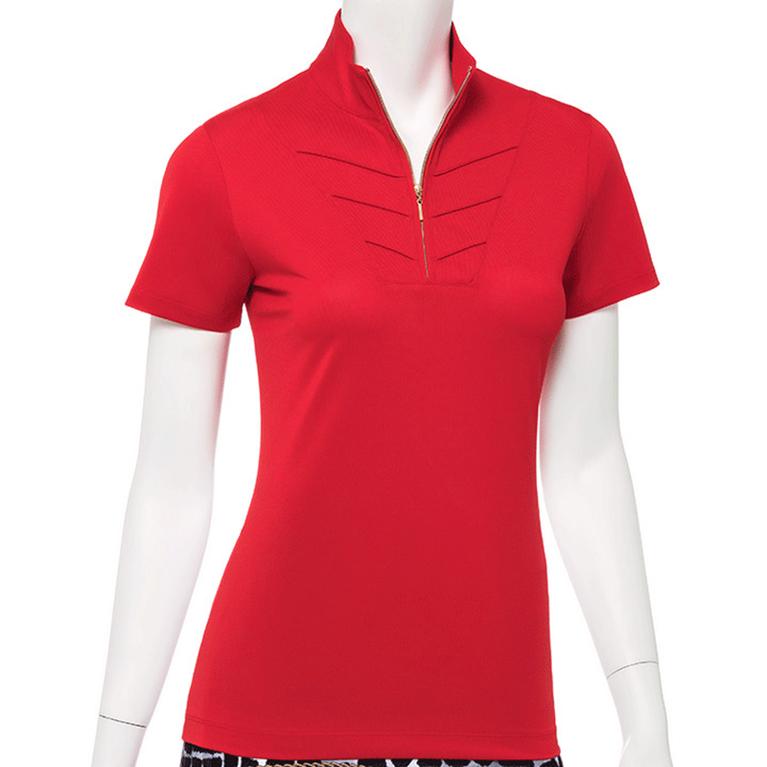 Wild Card Collection: Short Sleeve Pintuck Zip Collar Polo