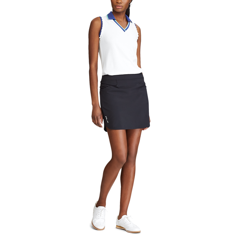 Ruffle-Trim Sleeveless Golf Polo Shirt
