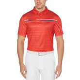 Allover Shadow Stripe Print Short Sleeve Polo Golf Shirt