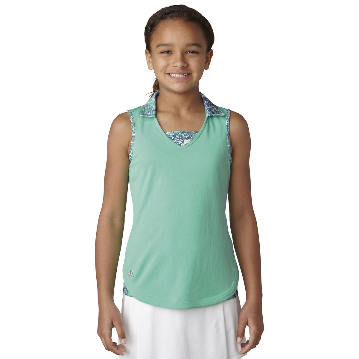 6b24914b45a48 adidas Girls' Fashion Sleeveless Polo   PGA TOUR Superstore