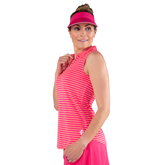 Alternate View 5 of Pink Lady Collection: Sleeveless Striped Polo Shirt