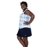Alternate View 6 of Cape May Powder Collection: Sleeveless Argyle Polo Shirt