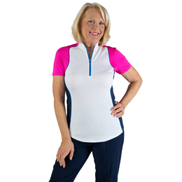 Rojito Collection: Short Sleeve Colorblock Zip Top