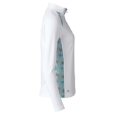 Alternate View 1 of Tropical Sense Spearmint Collection: Devyn White Long Sleeve Quarter Zip Pull Over