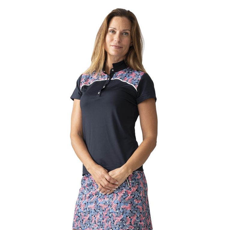 Red Dimension Collection: Malia Navy Short Sleeve Polo Shirt