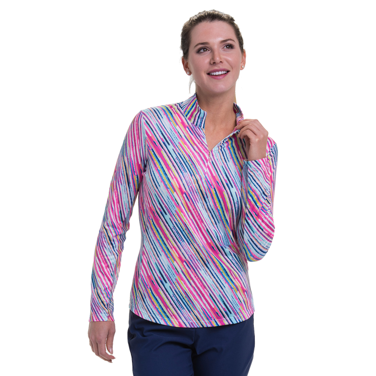To Dye For Collection: Watercolor Striped Long Sleeve Quarter Zip Pull Over
