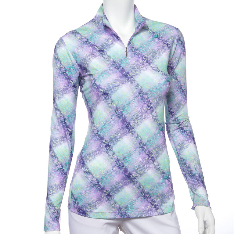 Club Med Group: Long Sleeve Plaid Quarter Zip