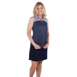 Cape May Collection: Tipped Vera Sleeveless Dot Cutaway Polo