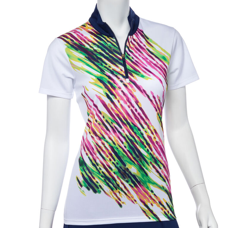 Treasure Island Group: Short Sleeve Placed Diagonal Watercolor Spray Print Polo