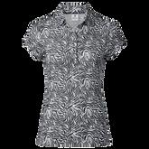 Alternate View 2 of Kiara  Black Tiger Print Mesh Short Sleeve Polo