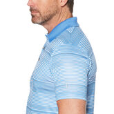 Alternate View 2 of Allover Stripe Short Sleeve Polo Golf Shirt with Accent Pop