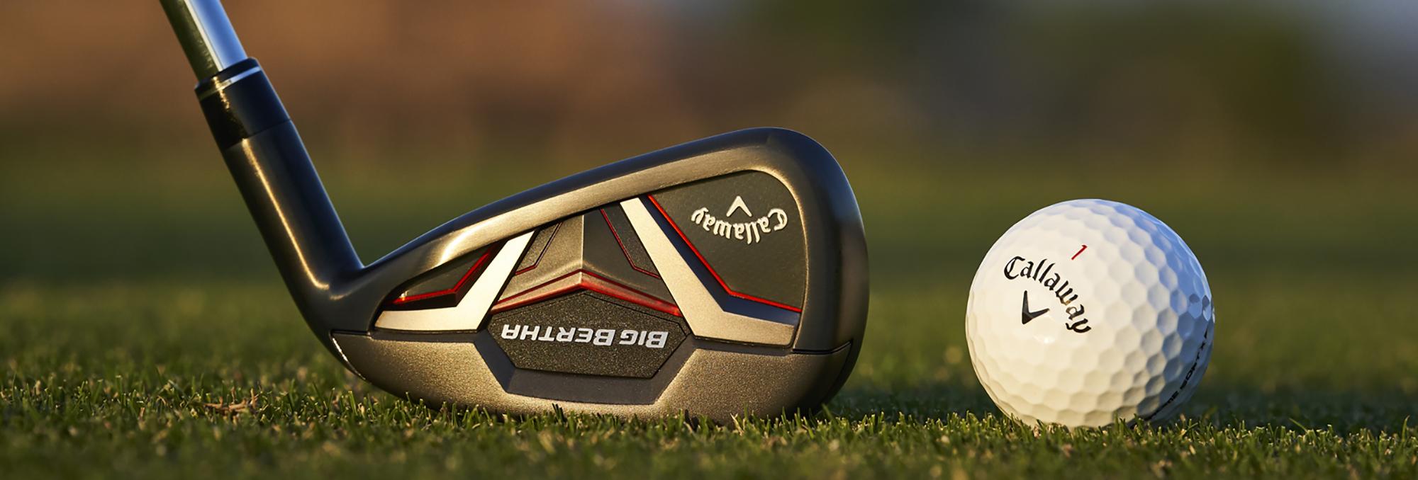Callaway Big Bertha Irons on course with Callaway chrome soft golf ball