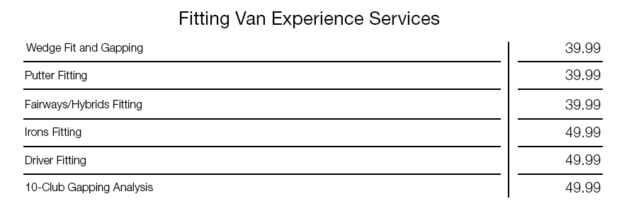 Fitting Van Experience Pricing