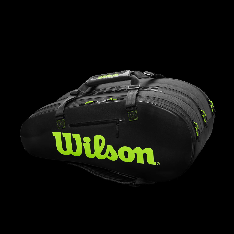 Wilson Super Tour 3 Compartment Tennis Bag Black Green Pga Tour Superstore
