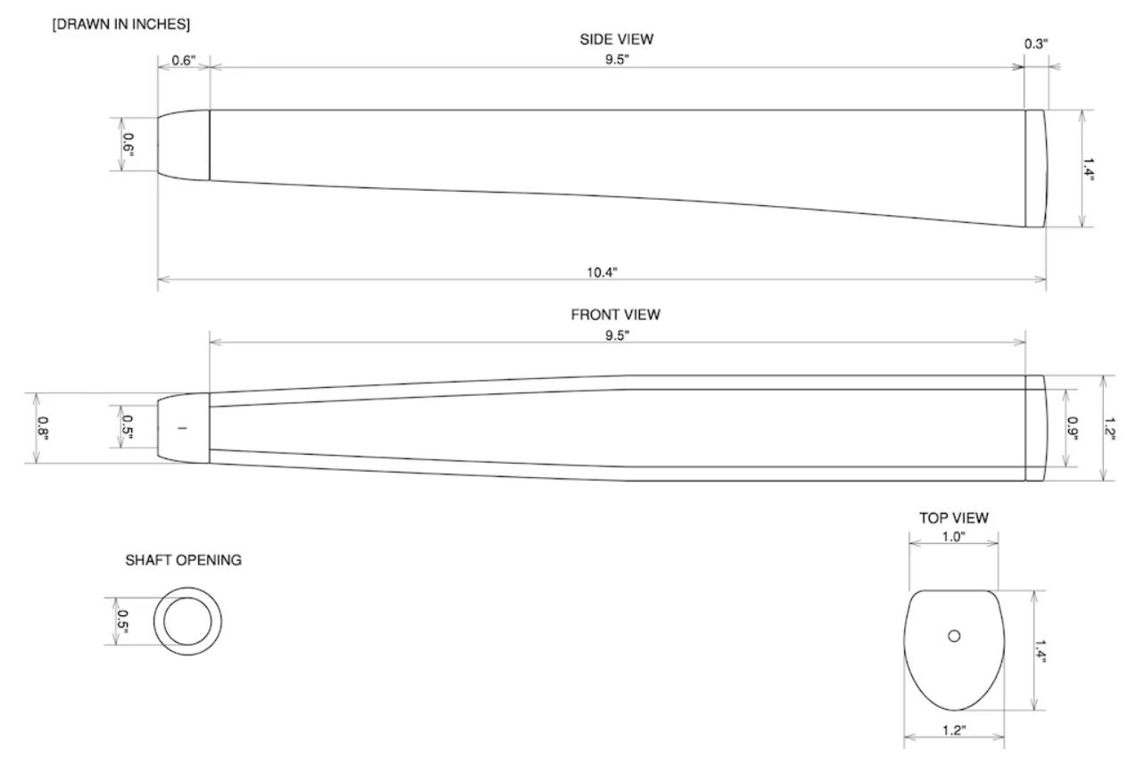 Sweet Rollz Putter Grip Tech Drawings