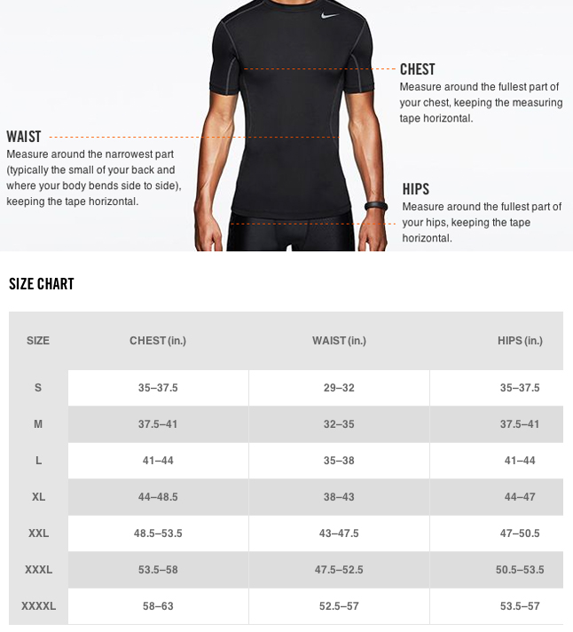 Nike Men's Tops Size Chart