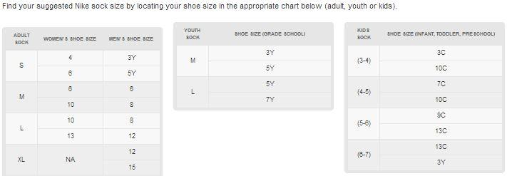 Nike Men's Shoe Size Chart