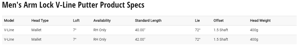 Odyssey V-Line Armlock Putter Tech Specs