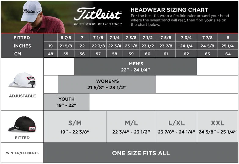 titleist size chart headwear